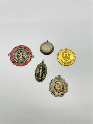 Group of Religious Pendants A Gale Sterling Jesus