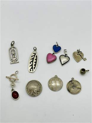 Group of Sterling Silver Pendants Native American Heart