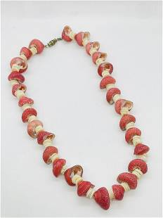Vintage Strawberry Seashell Necklace