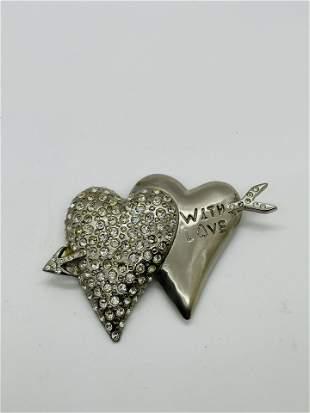 Vintage Large Rena Lange Double Heart Brooch