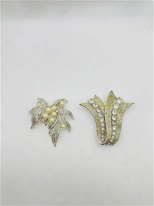 2 Crown Trifari Brooches