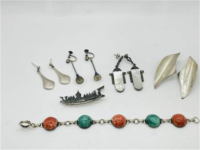 Sterling Silver Lot Jewelry Denmark Mexico Signed