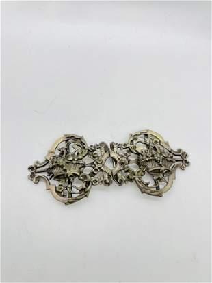 Antique Victorian Silver Floral Belt Buckle