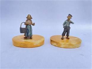 A Pair of Austrian Vienna Bronze Figurers Lovers B