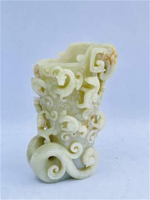 LARGE Chinese Carved Jade Vase Sculpture Figure