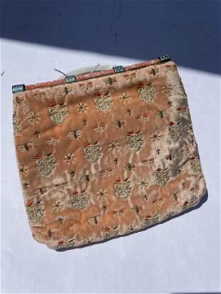 19th Century Silk Embroidery Bag Clutch Enamel Art DECO