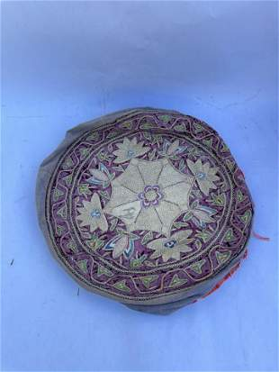 19th Century Middle Eastern Silver Velvet Silk Pillow