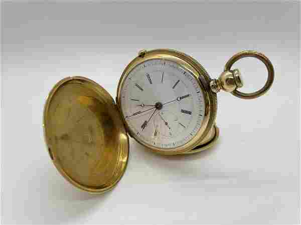 18K Gold Heavy Chronograph Pocket Watch Huguenin