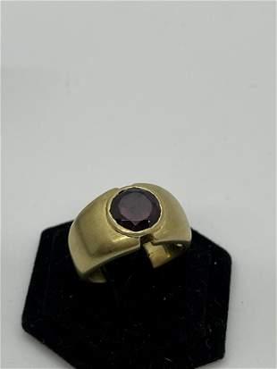 18k Gold Garnet Ring