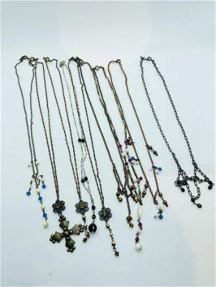 Vintage Costume Jewelry Lot of 9 Necklaces