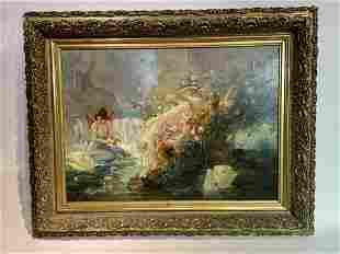 19th Century Painting Attributed Hans Zatzka Women Swan