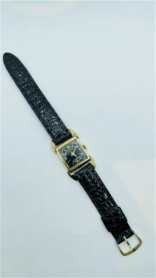 Art Deco Bulova Mens Black Dial Wrist Watch 14k GF