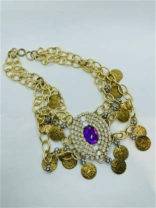 Large Vintage Costume Jewelry Necklace With Rhinestones