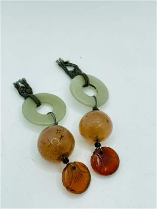 Vintage Carved Agate Intaglio and Jade Earrings ?