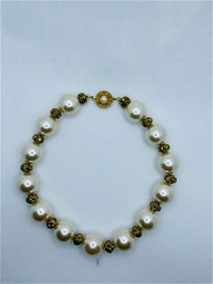Vintage Pearl Costume Jewelry Necklace LARGE Rhinestone