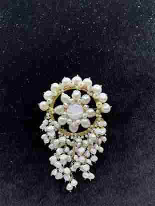 Vintage Pearl Costume Jewelry Brooch Pin