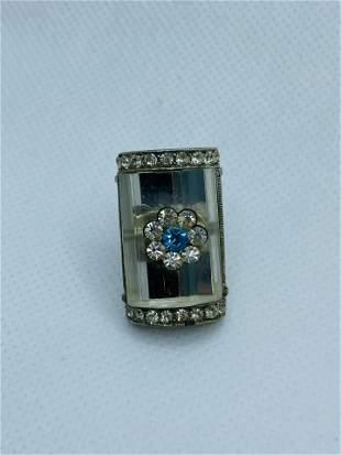 Art Deco Costume Jewelry Clip Rhinestone