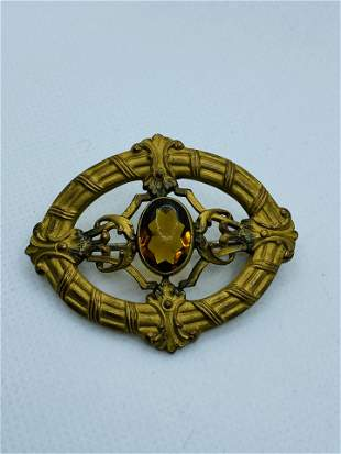 Victorian Costume Jewelry Brooch with Yellow Stone