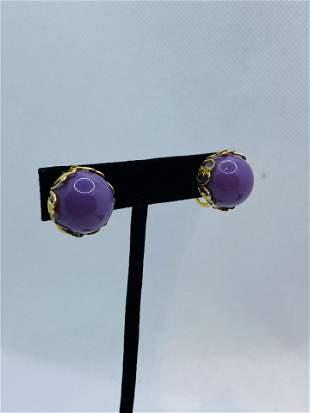Vintage SANDOR SIGNED Costume Jewelry Earrings Purple