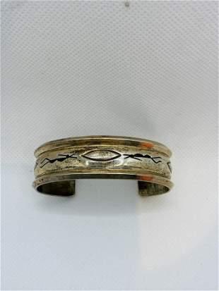 Sterling Silver HOPI Native American Bangle Bracelet