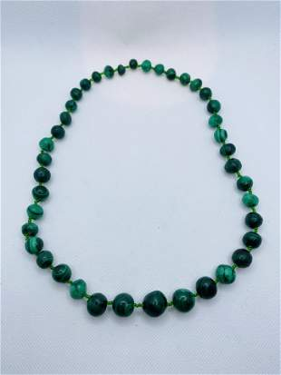 Vintage Malachite Bead Necklace High Quality