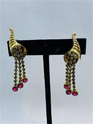 Vintage High Quality Costume Jewelry Earring Rhinestone