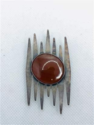 German Silver Agate Carnelian Modernist Brooch Pendant