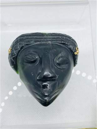 14K GOLD Carved Stone African Mask Pendant Brooch