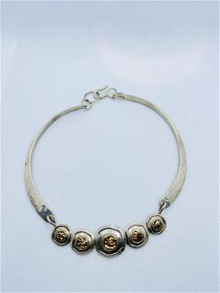 Signed Sterling Silver and 14k Gold Abstract Necklace