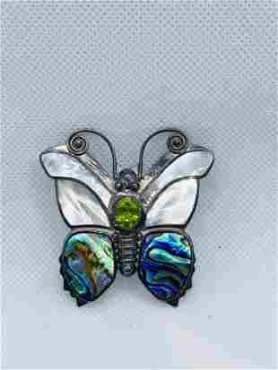 SAJEN 925 Gemstone Butterfly Pendant HUGE RARE Pearl