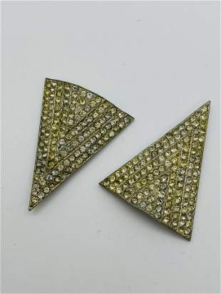 Art Deco Costume Jewelry Rhinestone Triangle Clips