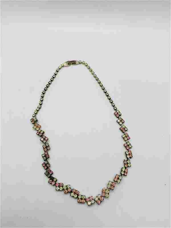 Vintage Costume Jewelry Necklace Pink Rhinestone