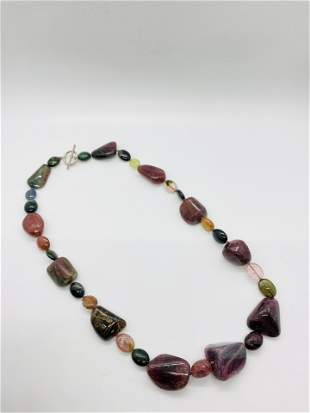 Large 31 Multi Colored Tourmaline Beaded Necklace