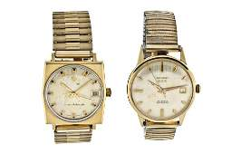 Lot of two gold wrist watches, Zodiac and Benrus