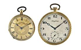 Two 18 karat gold Swiss pocket watches