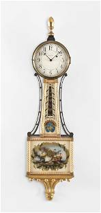 Waltham Watch Co., 8 day weight movement gilt banjo