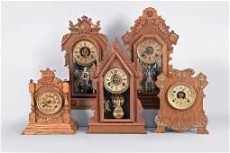 Five American 8 day, Spring Driven Shelf Clocks