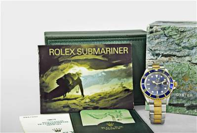 Rolex gold and stainless steel Submariner with boxes