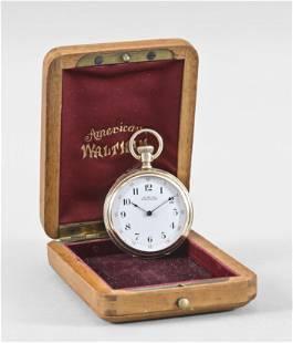 A four size Waltham crystal plate pocket watch