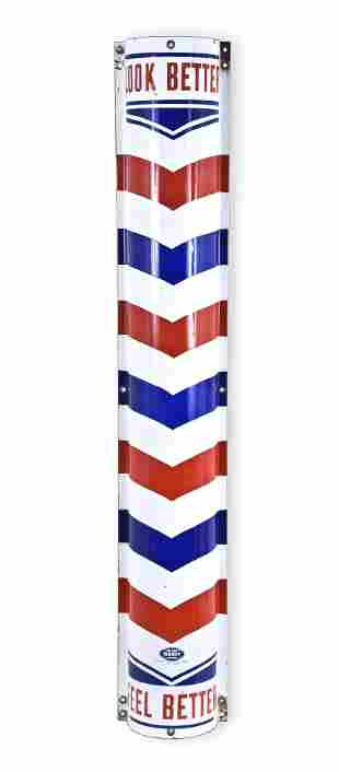 A half round enamelled metal barber pole by the William