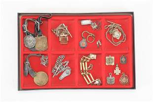 Lot of watch fobs and chains