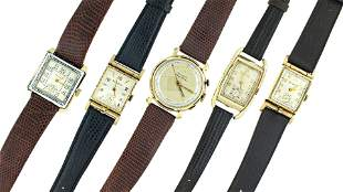 Five Bulova wrist watches with unusual cases