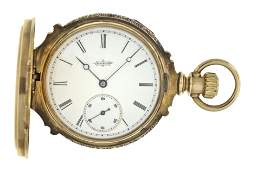 An 8 size Elgin gold hunting case pocket watch