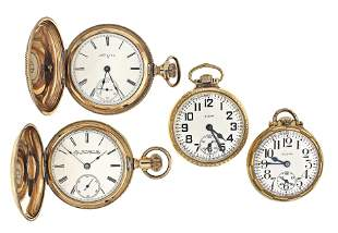 Lot of four Elgin pocket watches