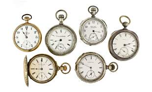 Lot of six American pocket watches