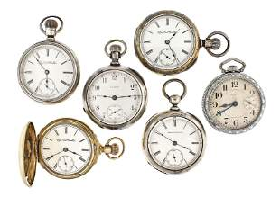 Lot of six Elgin 18 size pocket watches