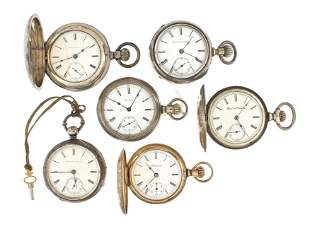 Lot of six 18 size Elgin pocket watches