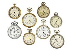 Lot of eight American pocket watches