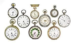 Lot of nine Swiss pocket watches