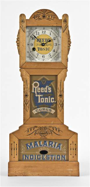Yale clock Co. miniature eight day time only tall clock